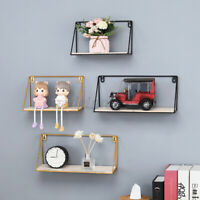 Floating Wooden Iron Wall Mounted Storage Shelf Display Rack Home Office