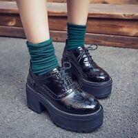 Vintage Women's Patent Leather Oxfords Lace Up High Heels Platform Brogue Shoes