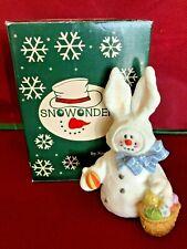 "Sarah's Attic Snowonder ""April"" Easter Bunny Snowman Figurine Mint In Box Rare"