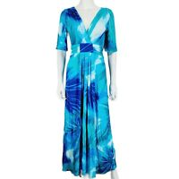 Per Una UK 12 Turquoise Blue V Neck Dress Long Maxi Pattern 1/2 Sleeve