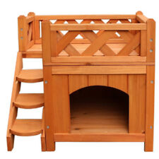 New listing 2 Layers Fir Wood Pet Cat Deluxe House Living House Kennel with ladders Balcony