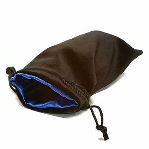 """Black Velvet Dice Bag: Blue Satin Lining (5"""" x 8"""")"""