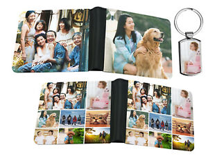 Personalised Leather Two Sides Printed Wallet & Keyring Any Image Photo