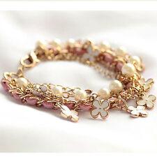 New Xmas Gift White Pearl Clover Bracelet Leather Rope Bracelet Jewelry for Girl