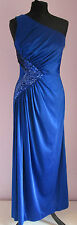 VTG 90s Ladies Blue One Shoulder Polyester Sequined Long Dress Size 10