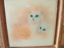Vintage Attic Find Pottery Tile Picture Kitty Cat Rose Oak Frame Cream 2 Feline