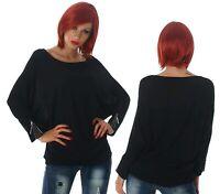 Pullover donna maglia ampia maglione manica lunga a pipistrello borchie strass