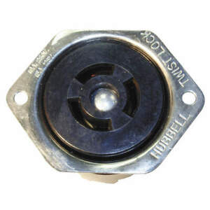HUBBELL WIRING DEVICE-KELLEMS HBL7557 Flanged Locking Receptacle,Industrial