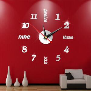 New 3D Wall Clock Watch Large Modern DIY Sticker Decal Roman Numeral Home Decor