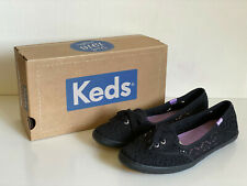 NEW! KEDS BLACK TEACUP CROCHET CASUAL SLIP-ON FLAT SHOES SNEAKERS 7 37.5 SALE