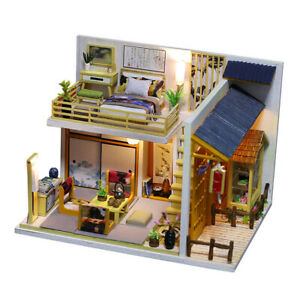 Assembly 1:24 Wooden Wood DIY Simple Japanese Style Dolls House Kit Model