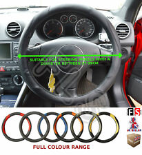 UNIVERSAL BLACK/BLACK 37 TO 39CM FAUX LEATHER STEERING WHEEL COVER-CHE 2