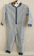 Neuf : Pyjama 1 pièce PETIT BATEAU 3 ans velours éponge gris blanc rayé garçon