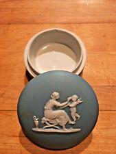 "Wedgwood Jasperware RARE Pale Blue Dip 3"" Box Lid Early 19thC Mother Child Nicks"