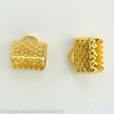 100 Gold Plated Findings 8x7mm Ribbon Clamp Crimp Ends