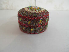 """3"""" Round Jewelry Box Made in India Beaded in Multiple Colors"""
