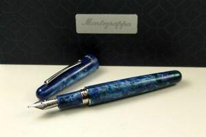 Montegrappa Elmo 01 Fantasy Bloom Blue Cross Gentian Fountain Pen Fine Resin New