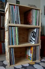 """Upcycled Repurposed 12"""" LP Vinyl Storage Box Crate Holds 150 LPs Stackable"""