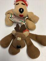 Vintage Hallmark Rodney & Rhonda Reindeer Beanbag Plush Christmas Toy Decor
