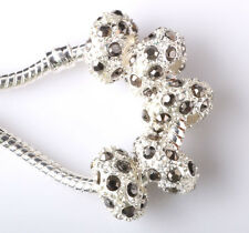 Fashion 5pcs Silver CZ nest big hole Beads Fit European Charm Bracelet DIY #C227