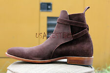 New Handmade Mens Latest Jodhpur Brown Suede Ankle High Boots with Leather Sole