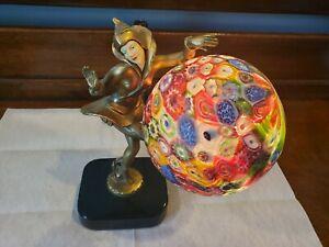 GERDAGO ANTIQUE ART DECO PIXIE HARLEQUIN FIGURAL LAMP W/MILLEFIORI GLASS SHADE