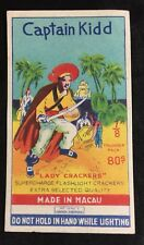 Vintage Captain Kidd brand firecracker label 80s, No crackers!! Macau fcp12