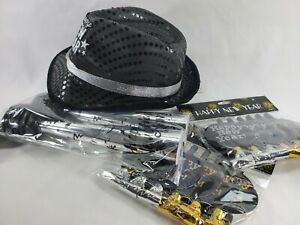 Happy New Years Eve Party Supplies (1) Black & Silver Glitter Fancy LED Top Hat