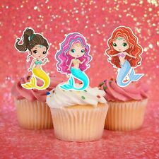 Mermaid Edible Wafer Stand-Up Cupcake Toppers - Set of 16