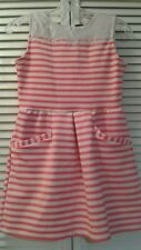 GIRLS Stripped White and Coral  DRESS SIZE XL