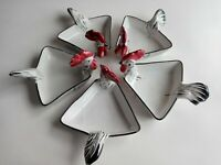 Red Black & White Porcelain Rooster Condiment Dishes Italy Set Of 5 Chickens