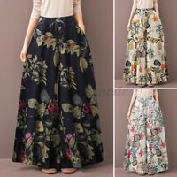 2021 UK Women Casual Loose Flare Wide Leg Pants Floral Culottes Palazzo Trousers