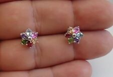 925 STERLING SILVER LADIES MULTI-COLOR STUD EARRINGS/W 2.50 CT MULTI- COLOR GEMS