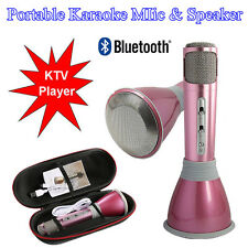 Pink K068 Wireless Bluetooth Mini Ktv Karaoke Microphone + Speaker for Pc Phone