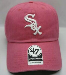 '47 CLEAN UP ADJUSTABLE HAT MLB BASEBALL CHICAGO WHITE SOX PINK UNISEX ADULT CAP