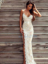 Lace Split Formal Party Evening Cocktail Bridesmaid Celebrity Prom Gown Dress