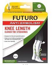 FUTURO Anti-Embolism Knee Length Closed Toe Stocking 18mm/Hg Medium White