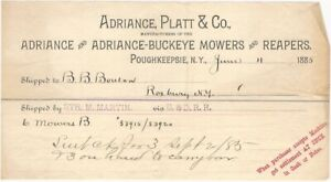 1885 Adriance Platt Buckeye Farm Mowers & Reapers Poughkeepsie NY Billhead