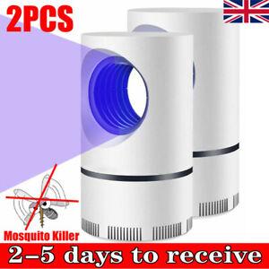 2Pcs UV Light Mosquito Killer Trap Catcher Lamp Home Mosquito Bug Zapper UK