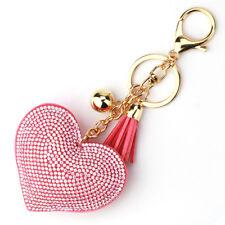 Crystal Rhinestone Heart Charm Pendant Keychain Handbag Bag Keyring Key Chain