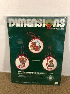 Vintage Merry Bears Ornament Set Cross Stitch Kit Dimensions 1984 NEW SEALED