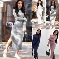 Women Autumn Winter Long Sleeve Knit Bodycon Sweater Jumper Split Midi Dresses