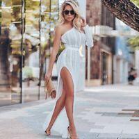 Women Bikini Beach Cover Up One Shoulder Crochet Long Maxi Dress Summer Dress