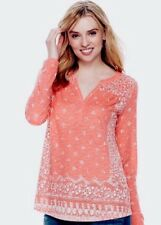 Sonoma Size Large NWT Coral Orange And White Split Neck LS Top