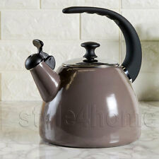 ENAMEL Carbon Steel WHISTLING Kettle Electric Gas HOBS Fresh Fusion TAUPE