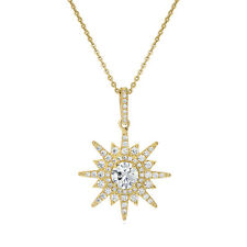 BERRICLE Gold Flashed Sterling Silver CZ Starburst Fashion Pendant Necklace