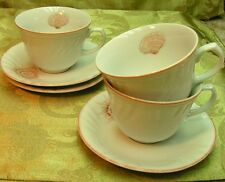 Coquille Swirled by Fitz Floyd LOT of 3 CUPS + SAUCERS peach shell vintage G72
