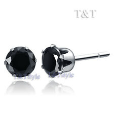 T&T S. Steel 6mm Black CZ Round Stud Earrings ER08D(6)
