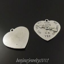 38330 Antique Style Silver Tone Alloy Heart Arrow Turntable Charm Pendant 28pcs