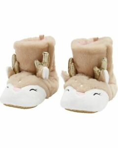Carter's Toddlers Reindeer Slippers Beige Christmas Size: 3/4 5/6 7/8 9/10 NWT